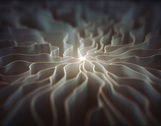 3D illustration. Concept of artificial neuron. The dendrite of an axon, slender projection of a nerve cell.