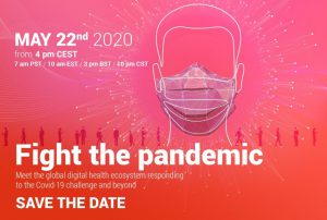 Fight the pandemic event banner with a man wearing a face mask