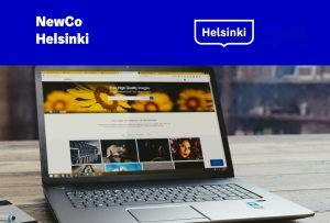 NewCo event banner with a picture of a laptop and NewCo and the City of Helsinki logos