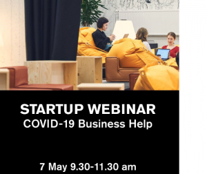 Startup webinar event banner with a picture of women sitting in front of their laptops