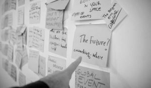 """Sticky notes on a wall and a finger pointing a note saying """"Future? Coworking – where"""""""