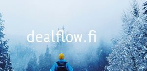 """A man standing in a snowy forest and a text """"dealflow.fi"""""""