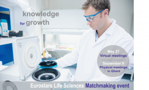 Eurostars matchmaking banner showing a man in laboratory room