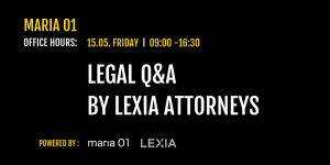 Legal Q&A event banner with event info and Maria01 and Lexia logo